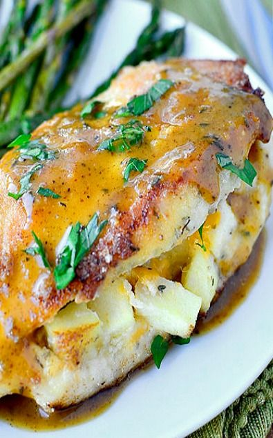 Apple Stuffed Cheddar Chicken with Apple Dijon Pan Sauce #savory #fall #protein