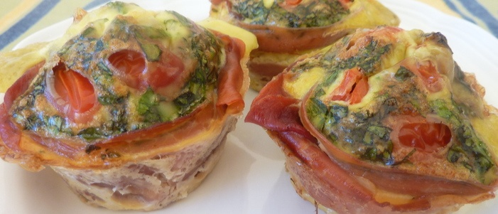 Uovo Di Parma (Eggs with Proscuitto)  My Uovo di Parma is my Italian version of mini crust-free quiche. Each individual gets their own adorable personal quiche that's filled with flavor, a good source of protein (17 grams/serving) & fiber (5 grams/serving) - yes fiber in your eggs! https://www.ninacucina.com