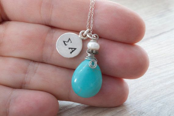 Personalized Initial Necklace Stamped Sterling by PiscesAndFishes