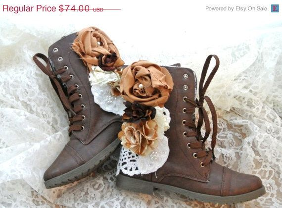 SALE Women's Combat boots, Embellished  boots, chocolate brown, farmgirl, shabby country, romantic shoes, altered shoes, true rebel clothing...