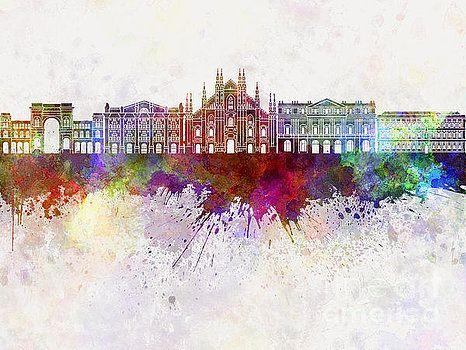 Milan skyline in watercolor background by Pablo Romero