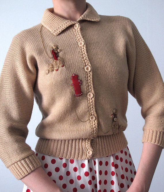 Adorable 1950's poodle cardi! Do you think it would look as good if I embroidered a pic of my own dog on there???