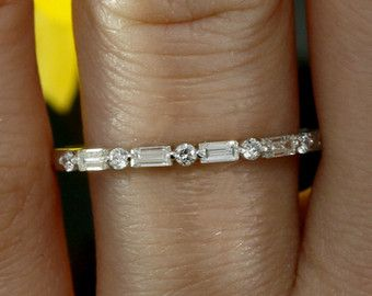 Wedding Band Baguette and Round Diamonds 14K by LuxinelleJewelry