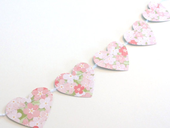 Pink Floral Chintz Paper Heart Cake Bunting Garland by ShastaBlue, $3.00