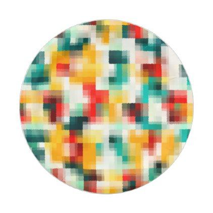 Red Blue Green Yellow White Abstract Pattern Paper Plate - artists unique special customize presents