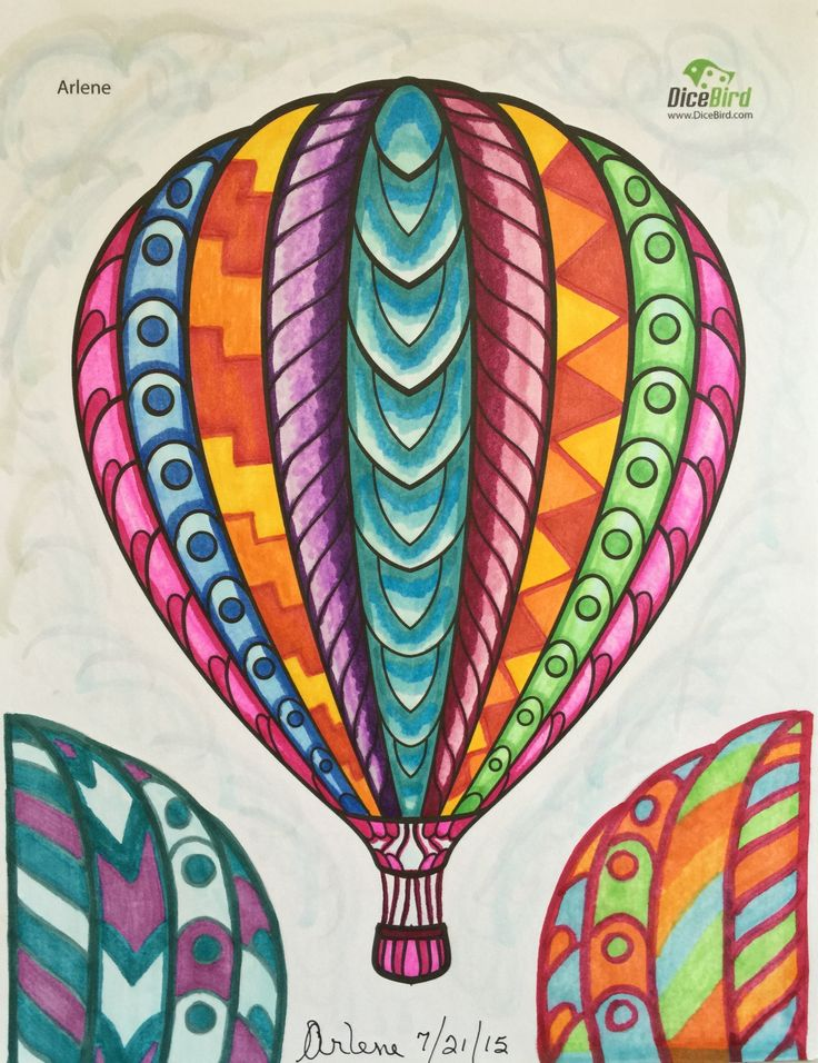 hot air balloon adult coloring sheets | DiceBird free printable coloring pages