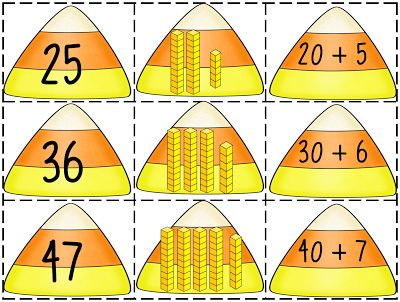 """Candy Corn Connection (free; from First Grade Wow's """"Place Value & Expanded Notation Pack"""")"""