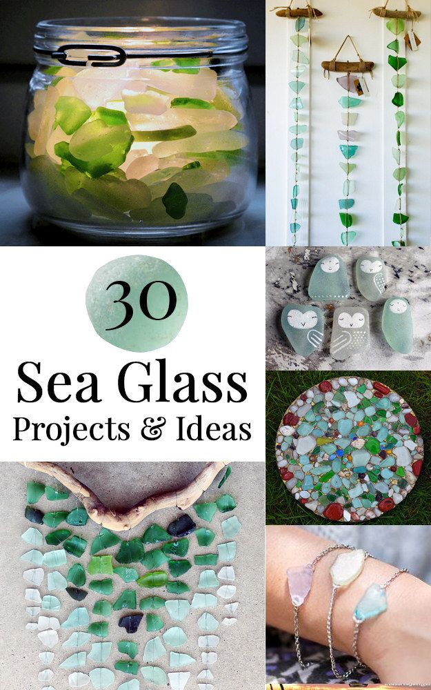 30 Sea Glass Projects & Ideas including candle holders, jewelry, artwork, garden stones, candy, a bird house, and more!