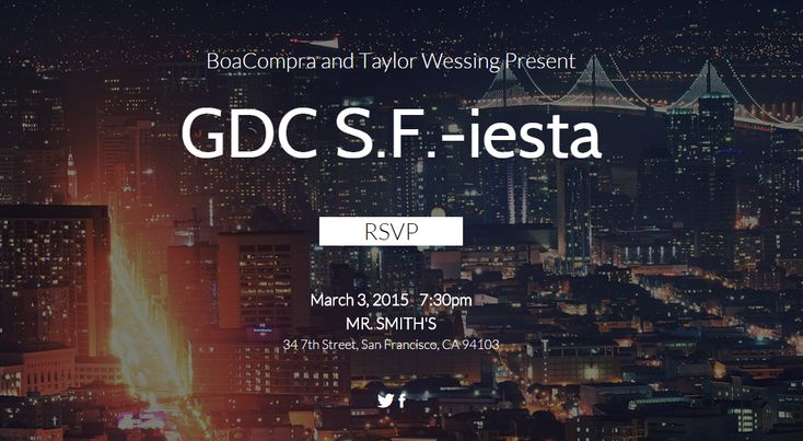 March 3 2015 7 30 pm MR. SMITH'S 34 7th Street San Francisco CA 94103 The  GDC SF-iesta  kicks off on March 3 at Mr. Smith's for a night of fun and excitement!            Please join  UOL BoaCompra  and  Taylor Wessing  for a night of artisinal cocktails, lots of Caipirinhas (per usual) and  awesome food among good company in one of our favorite, classic San Francisco bars. We hope to see you there!