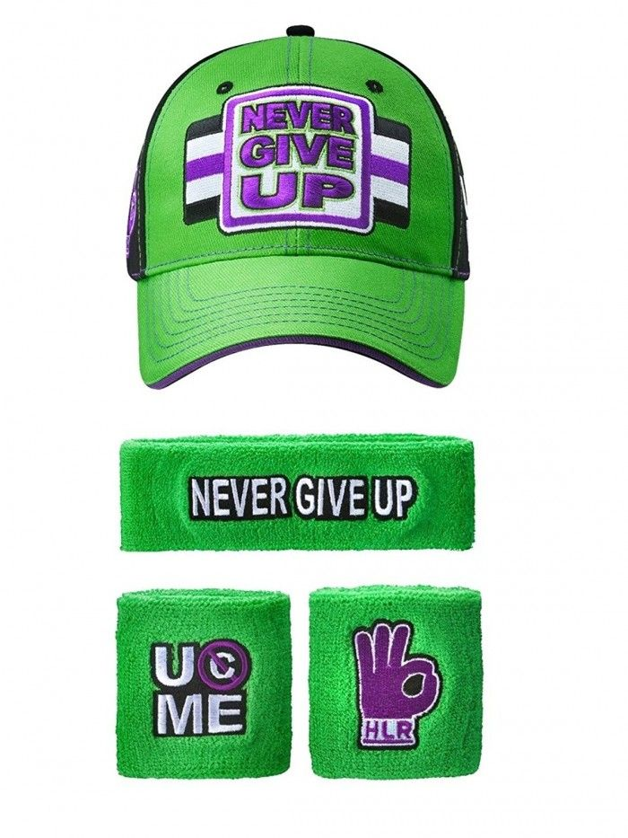 John Cena WWE Never Give Up Green Purple Baseball Hat Headband ... 6924628bd2c3