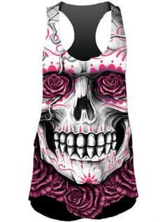 "Women's ""DOTD Rose Skull"" Sublimation Tank by Lethal Angel (Black) - 1"