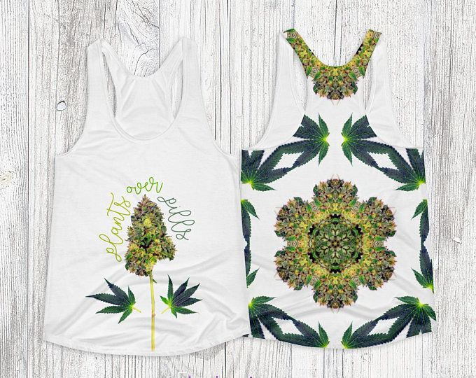 Plants Over Pills Tank #Weed Art #Tank with #Dragonfly #Trichomes Mandala Double Sided #Cannabis #ganja