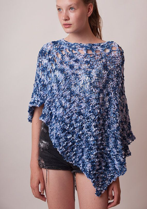 Blue poncho summer loose knit bohemian clothes women by beWoolen