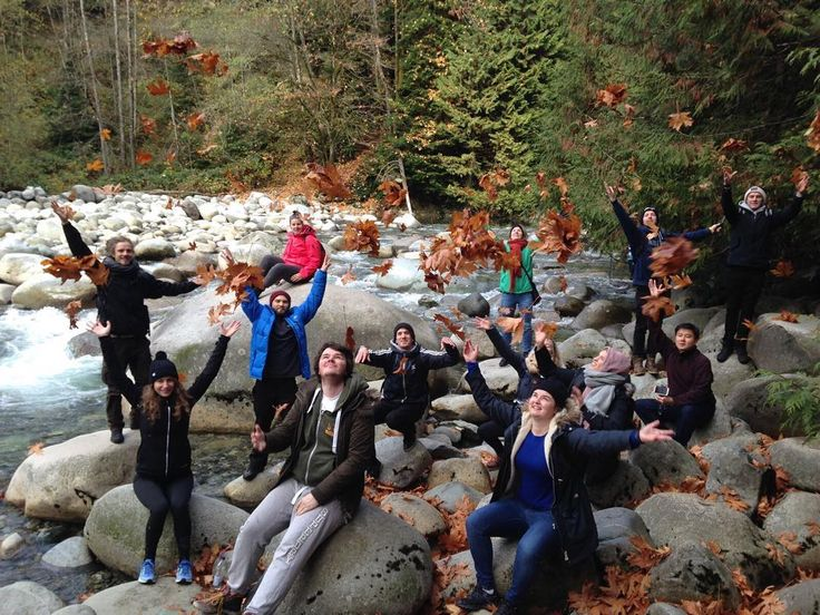 Playing with leaves at lynn canyon! #samesunvancouver #hike #leaves #mapleleaves #leafitoutmate