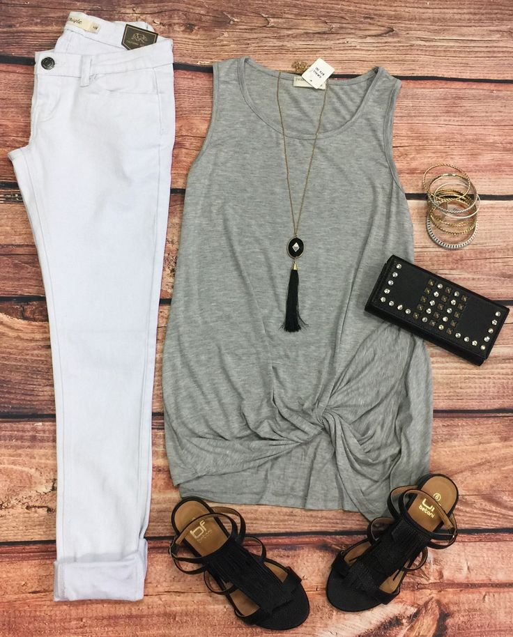 Knotted Tank Top: Grey from privityboutique