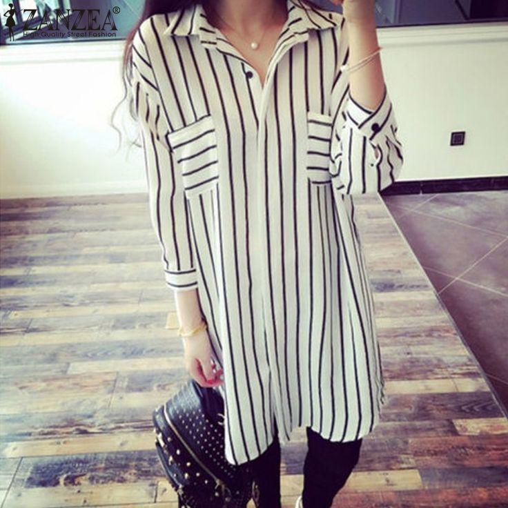 Zanzea Fashion Spring Autumn Shirts 2016 Zanzea Women Lapel 3/4 Sleeve Striped Long Blouses Loose Tops Blusas Plus Size