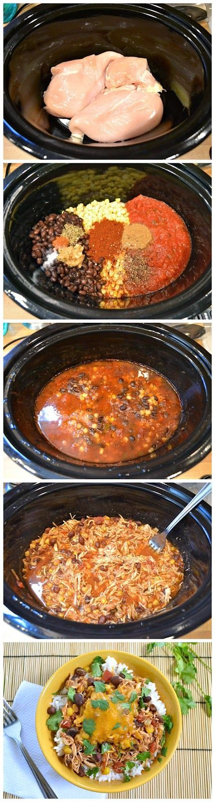 """taco chicken bowls"" <--not convinced about the bowl part, but this looks like a great crockpot recipe."