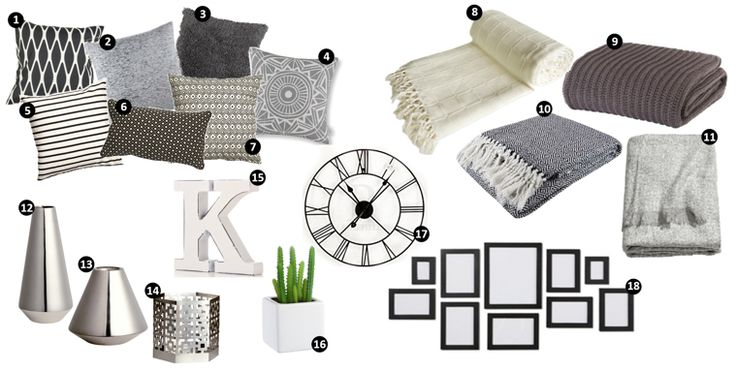 New home wishlist. interior design grey colour scheme. small flat design. ideas for new home. black and white. cushions and throws. H&M homeware. picture collage wall frames. large wall clock roman numerals. wishlist. new home. first flat. studio flat. decor. home deocrating. living room lounge plan