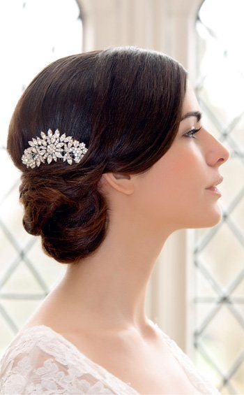 Elegant side chignon - a classic wedding hairstyle! Hair comb by Glitzy Secrets