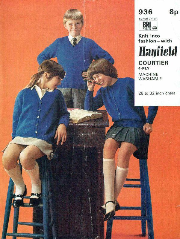 Hayfield 936 cardigans baby vintage knitting pattern