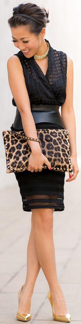 New York :: Striped Cutout Skirt & Metallic Details by Wendy's Lookbook