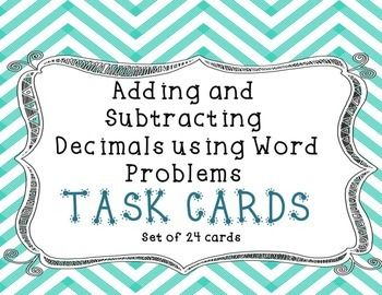 Free Adding and Subtracting Decimals Task Cards