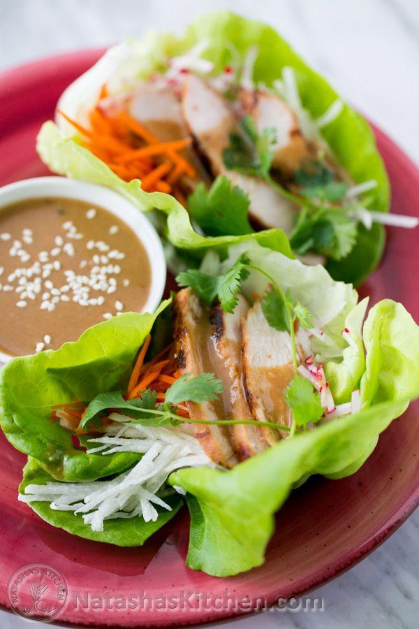 Chicken Lettuce Wraps with Peanut Dipping Sauce @natashaskitchen