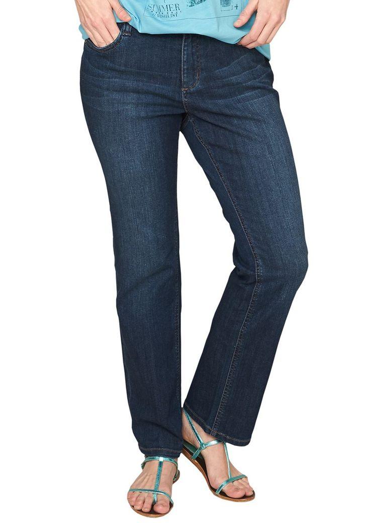 """Jeans Sitzfalten-Effekte in der Waschung. Klassische 5-Pocket-Form mit Reißverschluss. Figurbetonte Passform """"Kurvig"""" mit leicht vertieftem Bund und schmalem Bein für eine ausgeprägte Hüfte, einen runden Po und stärkere Oberschenkel. Twill-Qualität mit leichtem Stretchanteil. Ein vielseitiger Allrounder, der in keinem Kleiderschrank fehlen sollte..  Materialzusammensetzung:Obermaterial: 99% Bau..."""