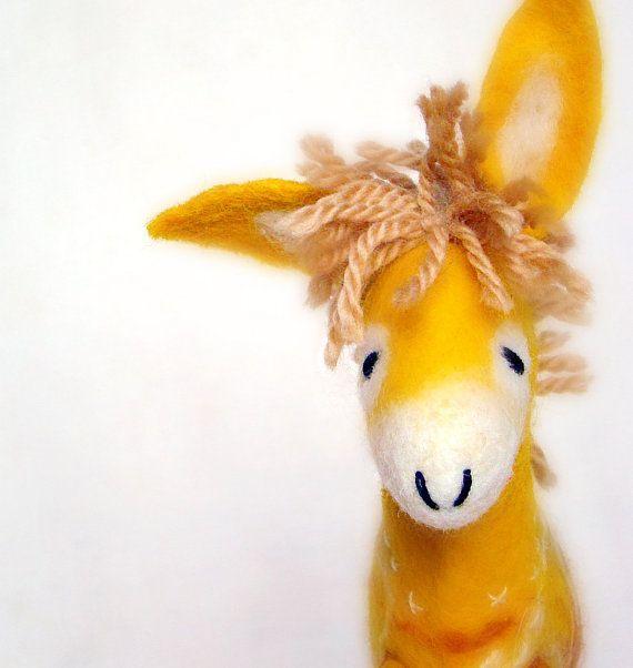 Viruka  Yellow Felt Donkey Art Toy Felted Stuffed by TwoSadDonkeys, $56.00