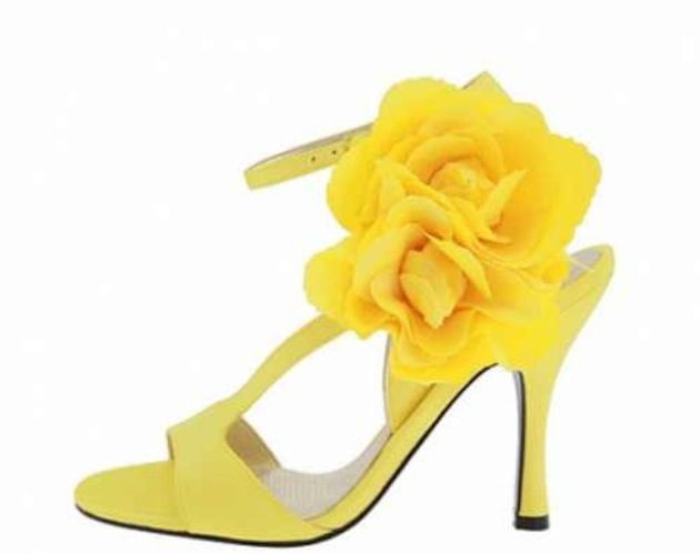 Yellow Sandal Heels Wedding Shoes with flower