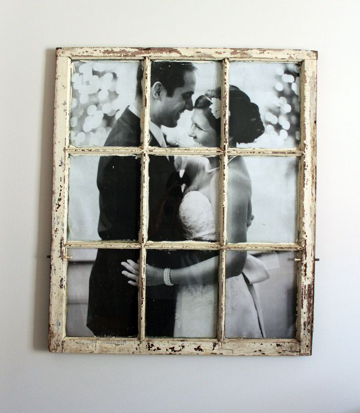 How to frame a wedding picture in an old window. (You will cut them to fit each pane and tape). She printed it to size at staples for $5