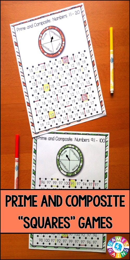 """Prime and Composite Numbers """"Squares"""" game contains 13 fun and engaging factors games to help students practice identifying prime and composite numbers (2-100).  Each one-page factors game gets students to identify the prime and composite numbers within a set of numbers. This means that you can have each student practicing the set of numbers that he/she needs the most help with! $  https://www.teacherspayteachers.com/Product/Prime-and-Composite-2005253"""