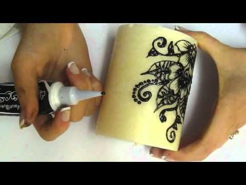 New Henna design candles..bougies personnalisées - YouTube