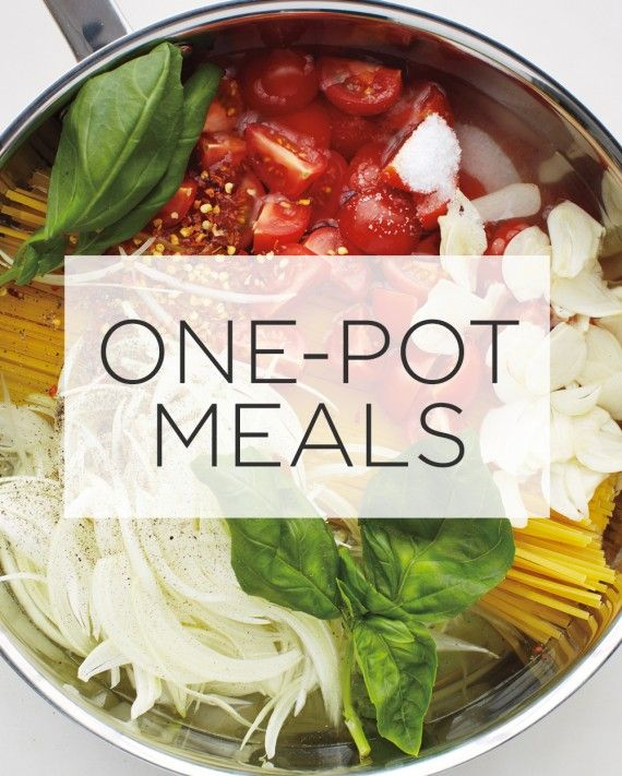 """One pan, pot, skillet, or slow-cooker is all you need to prepare these no-fuss family dinners.At a tiny restaurant in the Puglia region of Italy, we saw a chef place dried pasta in a skillet with water, tomatoes, onion, garlic, herbs, and a glug of extra-virgin olive oil, and then cook everything together. It has been one of our """"back pocket"""" recipes ever since: Once the water has boiled away, you are left with perfectly al dente pasta in a creamy sauce that coats every strand."""