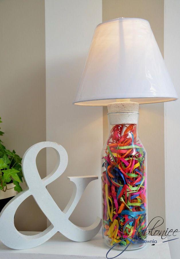 http://pl.dawanda.com/product/80262059-Lampa-stolowa-lampka-stolowa-Kolor,  lamp, hand made, bottle, colors, white, home, diy