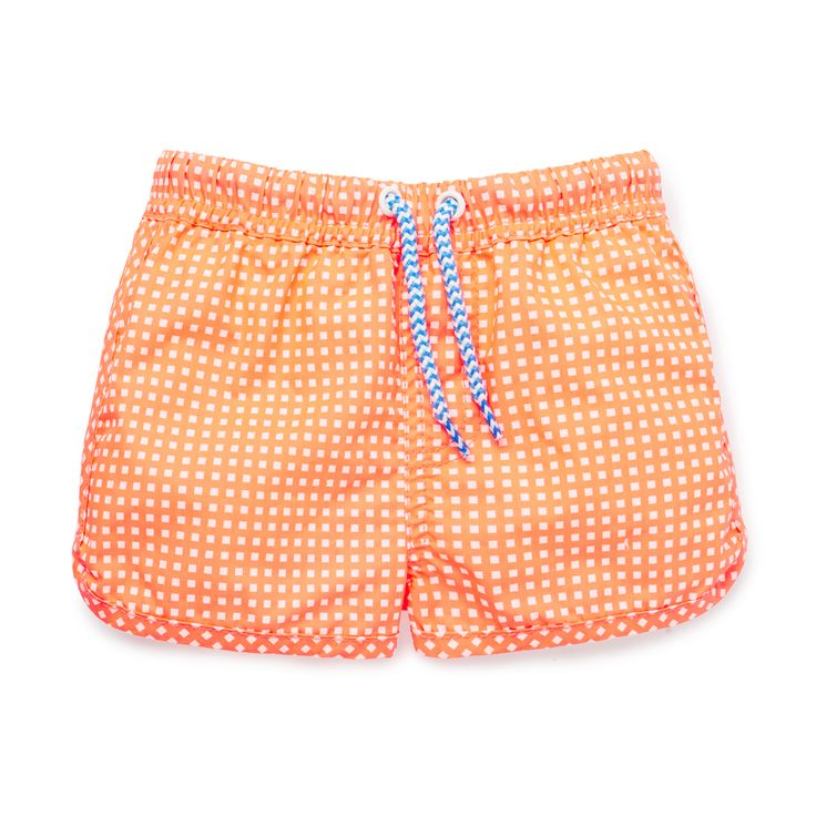 Cotton/Nylon blend Board Short. Pull on boardie with back patch pocket, elasticated waistband and functional drawcord. Features all over printed gingham. Regular fitting silhouette. Available in Super Orange.