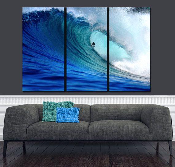 3 16x30 52x30 urfer Ocean Wave on Canvas, Large Wall art, Ocean Canvas, Blue Wave, Ocean Beach, Canvas print, Multi Panel Canvas, Surfer art