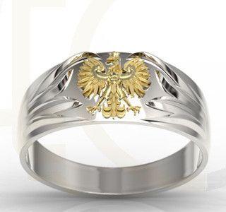 Sygnet z białego i żółtego złota z orłem / Signet ring made from yellow and white gold / 2218 PLN #signet_ring #gold #jewelry #jewellery #man #sygnet #bizuteria #zloto
