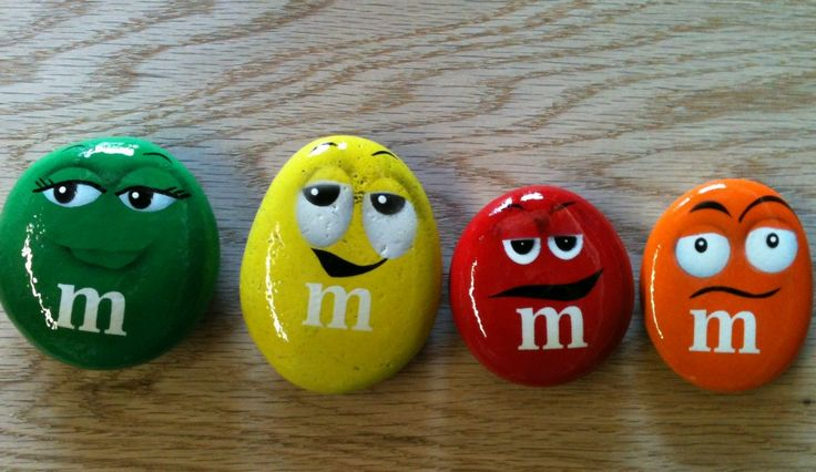 M & M's Rock! DIY Painted Stones for garden or container whimsey (or for indoor decor, paperweights, etc)