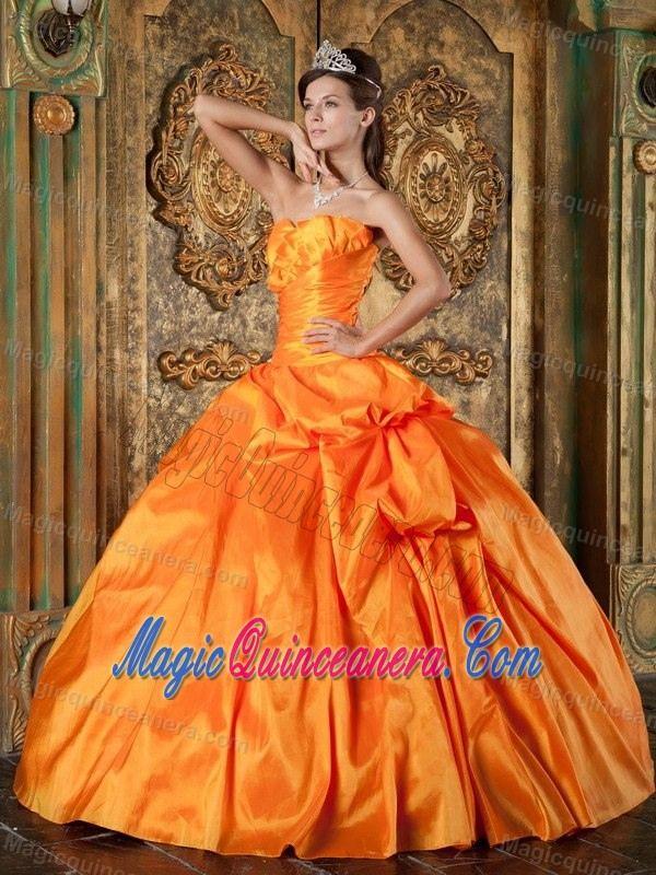 Orange Strapless Taffeta Dress For Quinceanera with Appliques in Paris