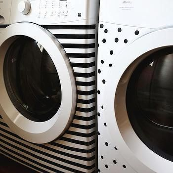Black and White Washer and Dryer, Eclectic, laundry room, A Beautiful Mess