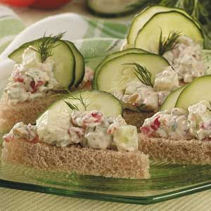 Cucumber chop salad tea sandwiches - would be beautiful with pumpernickle and gravad lox salad