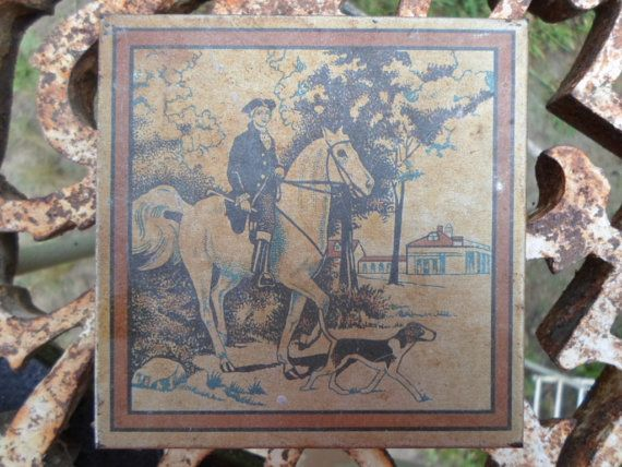 Vintage 1920s to 1930s Cigarette Tin Man on Horse and Dog