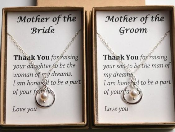 Set of 2 Mother of the bride and groom gift cards necklace-Sterling ...