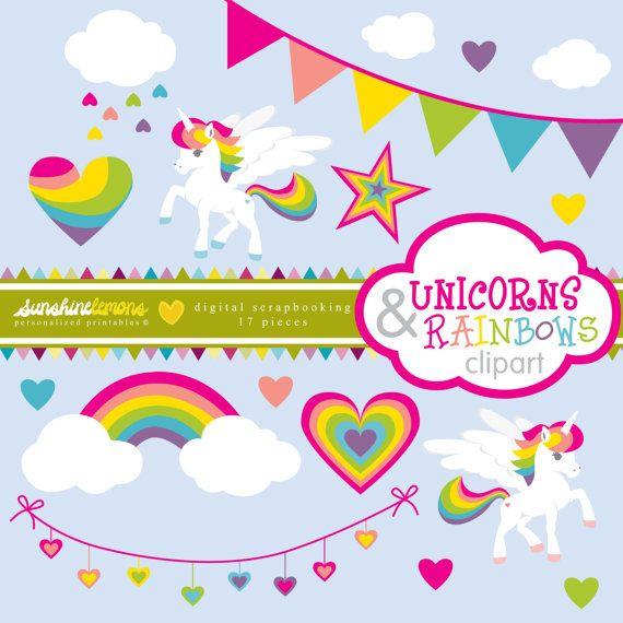 Einhörner und Rainbows Clipart Unicorn Clipart von SunshineLemons