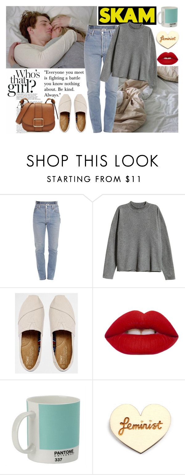 """""""SKAM Noora and William"""" by fanarts ❤ liked on Polyvore featuring Vetements, H&M, TOMS, Lime Crime, Pantone, Kate Rowland and MICHAEL Michael Kors"""