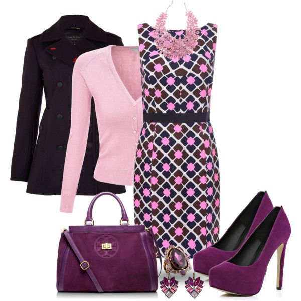 """""""Purple Peacoat Outfit"""" by mozeemo on Polyvore"""