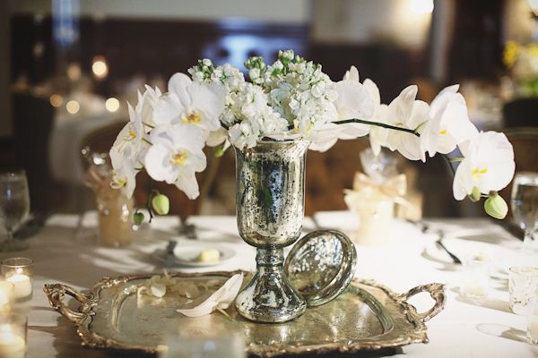 Silver Vase and Tray with White Orchid Centerpiece | http://www.christinacarrollphotography.com/