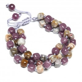 Lola Rose Vivienne Bracelet in Brioche Agate and Grape Quartzite £36.95