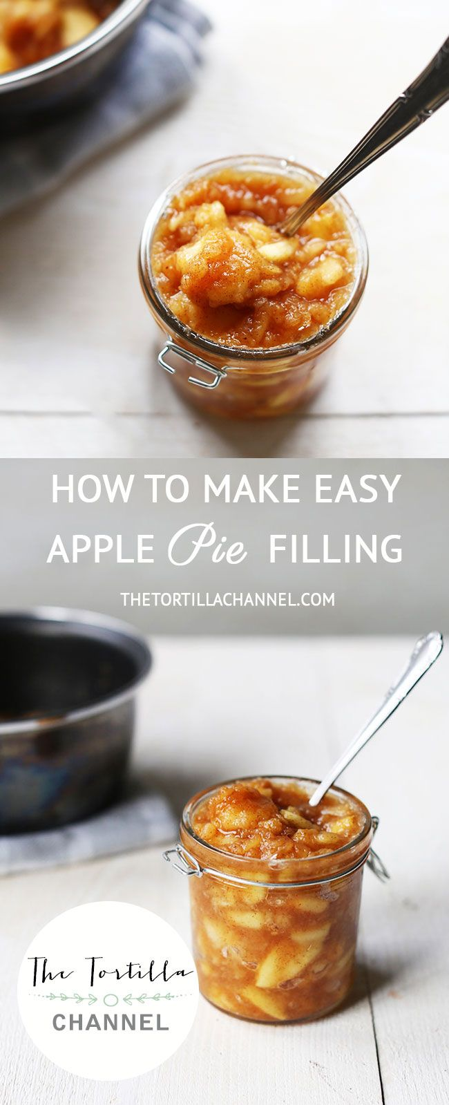 Easy apple pie filling recipe.  All you need is apple and less than 15 minutes to make a delicious apple pie filling. Great with taquitos or beignets.  For the full recipe visit thetortillachannel.com or pin it now so you can use it later.